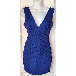 F21 Royal Blue Sexy Tiered Mini Cocktail Dress